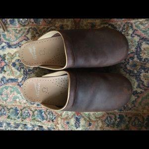 Dansko brown leather clogs